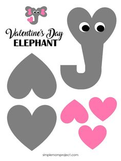 See this post for a FREE printable template to make your own Valentine's Day Elephant! This simple DIY Elephant Valentine's Day card is an easy craft for toddlers, big kids and adults to make. Great for classroom Valentine's Day art projects. Toddler Valentine Crafts, Kinder Valentines, Easy Toddler Crafts, Valentine's Day Crafts For Kids, Valentines Art For Kids, Arts And Crafts For Kids Toddlers, Homemade Valentines, Valentine Wreath, Valentine Ideas