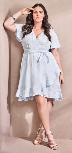 f7cc42c259 Blue   White Striped Challis Wrap Dress. Vestido Para ...