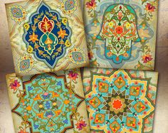 Moroccan ornament Images ORIENTAL COASTERS 3.8x3.8 inch by ArtCult