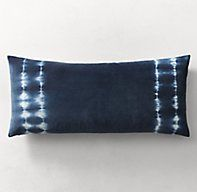 RH's Hand-Dyed Shibori Velvet Pillow Cover:In homage to shibori, the ancient Japanese art of resist-dyeing fabric, designer Kevin O'Brien reinterprets its bold effects on lush cotton velvet. Employing methods in use for over a thousand years, artisans in a small Nepalese workshop loosely fold the matte fabric, bind it with string and dip it in pigment. The results are patterns that evoke the translucence of watercolor, each pillow beautifully handcrafted and one of a kind.