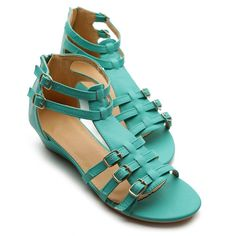 COLORFUL HEELS,SANDALS & SHOES | ... Shoes Gladiator Wedge Low Heels Ankle-Strap Multi Colored Sandals