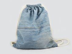 Turnbeutel - Turnbeutel Jeans used - ein Designerstück von Wedderbruuk bei DaWanda