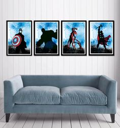 Captain America, Hulk , Iron Man and Thor Superheroes Poster Set. $50.00, via Etsy.