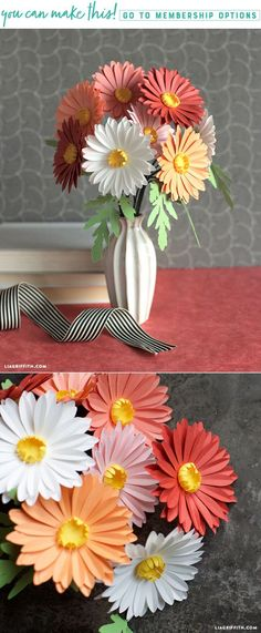 As part of our Midwestern floral bouquet for Cricut, these simple paper daisies are paper flower perfection! How To Make Paper Flowers, Tissue Paper Flowers, Paper Roses, Handmade Flowers, Diy Flowers, Fabric Flowers, Paper Flower Backdrop Wedding, Paper Party Decorations, Paper Daisy