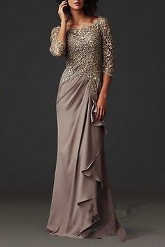 2016 New Mother Of The Bride/Groom Dress Long 3/4 Sleeve Formal Evening Gown Hot