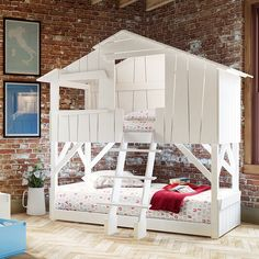 Schönes Hausbett (Hüttenbett) fürs Kinderzimmer: Mathy by bols Hüttenstockbett Hochbett Kieferholz weiß