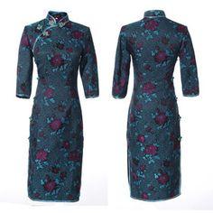 Egeria chrysanthemum floral traditional silk brocade qipao blue Chinese cheongsam dress