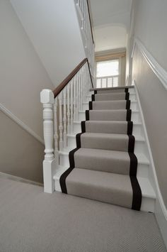 flatweave stair runners Bowloom flatweave herringbone carpet, fitted stair runners with plain binding tape White Staircase, Carpet Staircase, Staircase Runner, House Staircase, Staircase Design, Stairs White And Wood, Striped Carpet Stairs, Stair Landing Decor, Stair Decor