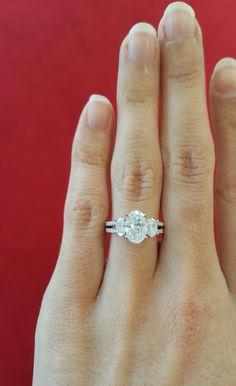 Split Shank Engagement ring, 3 stone Engagement Ring, 3 stone oval Engagement…