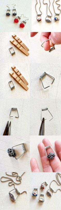 13 Easy DIY Ideas with Clothespins | Design & DIY Magazine. Love this for my old charm necklaces that are broken!