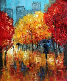 Kopania - Autumn (Umbrellas).  Hand painted oil painting reproductions available at overstockArt.com #art