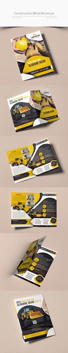 Construction Bifold Brochure Template PSD