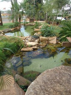 Ponds backyard backyard pond landscaping small gardens how to add fish to a backyard garden pond Fish Ponds Backyard, Large Backyard, Garden Ponds, Fish Pool, Garden Grass, Koi Ponds, Fountain Garden, Rustic Backyard, Garden Fountains