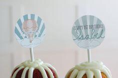 Printable cupcake toppers Hot air balloon by PrettiestPrintShop