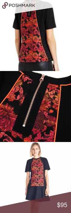 TED BAKER LONDON JACQUARD FRONT PANEL TOP Excellent used condition.  Red Orange Floral Front and Back Panels with Black shoulders Creative Jacquard Design in the front Shell material made of 43% Viscose, 35% Polyester and 22% Cotton Care information: Do not wash, dry clean only MSRP $195 Ted Baker London Tops Blouses