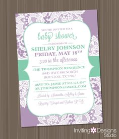 Girl Baby Shower Invitation, Lace, Lavender, Purple, Lilac, Mint Green, Aqua, Vintage, Shabby, Chic (PRINTABLE FILE) by InvitingDesignStudio on Etsy
