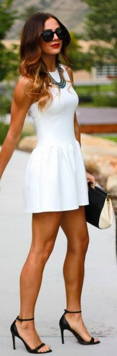 white flared summer dress plus black stilettos and sunnie-very chic find more women fashion on misspool.com