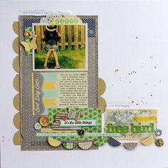 Free Bird Layout by Melanie Blackburn using Jillibean Soup's Macho Nacho Soup Collection, The Little Things Soup Labels, Corrugated Clouds, Cool Beans, Vellum Coin Envelope and Unity/Jillibean Soup Sweet & Sour Soup Stamps (via the Jillibean Soup blog).