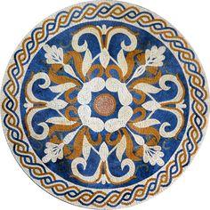 Beige and Blue Jacinth V Flower Mosaic Rondure - Mosaic Medallion - Mosaic Designs - Mosaic Patterns | #Mozaico
