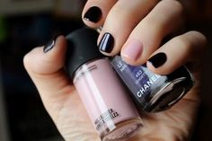 Baby Pink & Black #beauty #nails