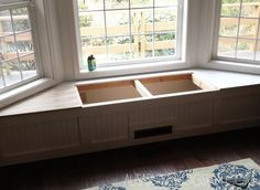 DIY: Step by step tutorial on how to build a built-in window seat with storage..