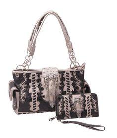 Western Style Buckle Concealed Carry Handgun Handbag and Wallet Set-Black  #HBM #Hobo