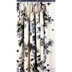 Schumacher Pyne Hollyhock Print Charcoal Drapes (Sherry Hart Designs) (77.895 RUB) ❤ liked on Polyvore featuring home, home decor, window treatments, curtains, dark gray valance, dark grey curtains, schumacher, charcoal curtains and box pleat curtains