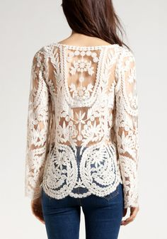 Crochet Lace Top - Beige $21