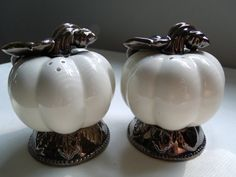 White Ceramic Pumpkin Salt and Pepper Shakers
