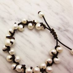 Leather and Pearl Bracelet Knotted with Natural Fresh by byjodi, $95.00