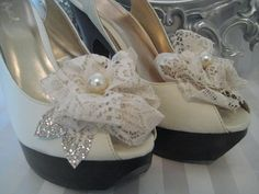 Shoe clips fascinators A Pair of Vintage Lace by ForeverLoveNotes, $24.99