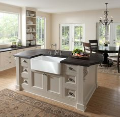 Somerset M360 Top Knobs Cup Pull On Kitchen Island. Farmhouse Sinks,  Fireclay Farmhouse Sink