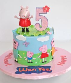 peppa pig cake with number