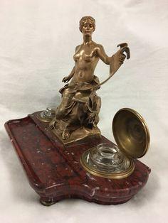 BRONZE GEORGES BAREAU FONDEUR BARBEDIENNE ENCRIER BACCARAT SOCLE MARBRE | Art, antiquités, Objets du XIXe et avant | eBay!