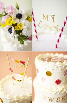 Add some bling to your wedding cake with a DIY paper straw cake banner.