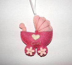 Wool Felt Pram Ornament Baby Shower Gift Newborn Baby