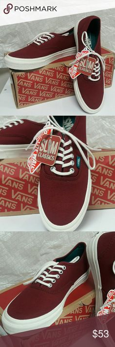 VANS Authentic Slim (Pop) Cordovan/Deep Lake Brand New with Box! Vans slim shoe in size 8 Womens  (mens 6.5). Color is a burgundy/dark reddish, I would say! ... Ask me anything! Vans Shoes