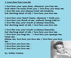 One of my favorite Bobby Vinton songs. I Love How You Love Me. Bobby Vinton, Kiss Me, Madness, I Love You, Songs, Music, Musica, Te Amo, Musik