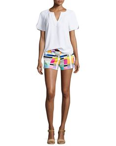 I absolutely love the bold colors and geometric pattern of these shorts