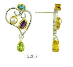 Blue Topaz, Peridot, Amethyst and Fresh Water Pearl earrings  - Eucalyptus Island Collection