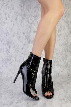 Black Peep Toe Single Sole Booties Patent