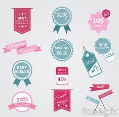 14 color promotional label vector diagrams