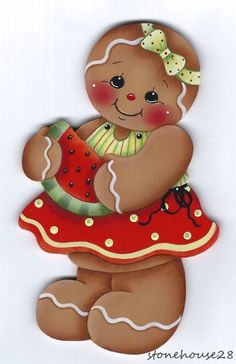 HP GINGERBREAD with Watermelon FRIDGE MAGNET #Handpainted