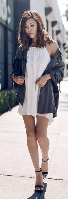 Flowing White Halter Little Dress by Tsangtastic