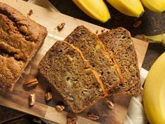 Turn your overripe bananas into a range of baked treats, from sweet breakfast banana bread to decadently spiced banana cakes. Pick up the best recipes and discover all the tips you'll need to perfect these banana-flavoured favourites in this guide. Sugar Free Banana Bread, Peanut Butter Banana Bread, Vegan Banana Bread, Easy Banana Bread, Banana Bread Recipes, Quick Bread, Banana Nut Muffins, Lactation Recipes, Sweet Bread