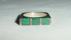 VINTAGE MODERNIST 925 SILVER RING STRIPED GREEN INLAID MALACHITE SIZE 6 #Unbranded #Modernist