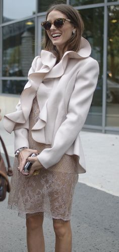 Olivia Palermo Avantgarde? Pale pink is always so feminine and adding a large ruffle sway is a nice balance.