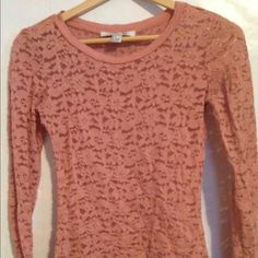 see through top Pale pink/nude color flower see through top great condition too small for me Forever 21 Tops Tees - Long Sleeve
