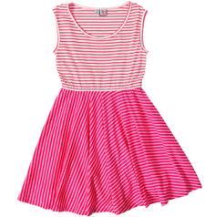 Ashley Circle Skirt Dress, coral stripe.  #missbtween #preppystyle #tweens #girlsdresses