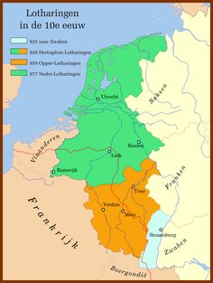Lotharingen na de deling in 959:Neder-Lotharingen in groen,Opper-Lotharingen in oranje. De taalgrens in rood gestippeld.